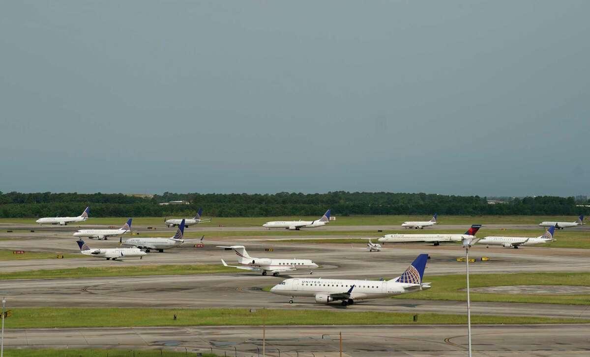 Aircraft are shown Thursday, May 30, 2019, in Houston at Bush Intercontinental Airport.