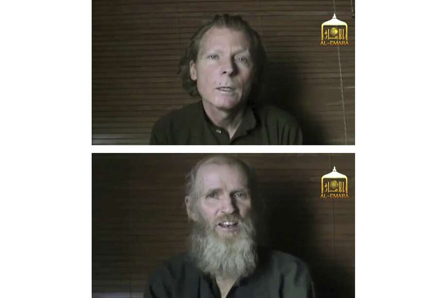 Australian Timothy Weeks (top) and American Kevin King spent more than three years in captivity. Both are teachers. Photo: Al-Emara