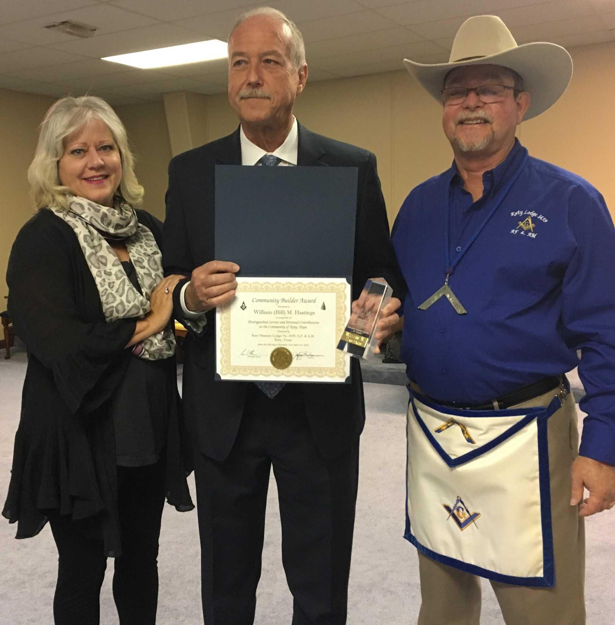 Katy Masonic Lodge honors mayor for service