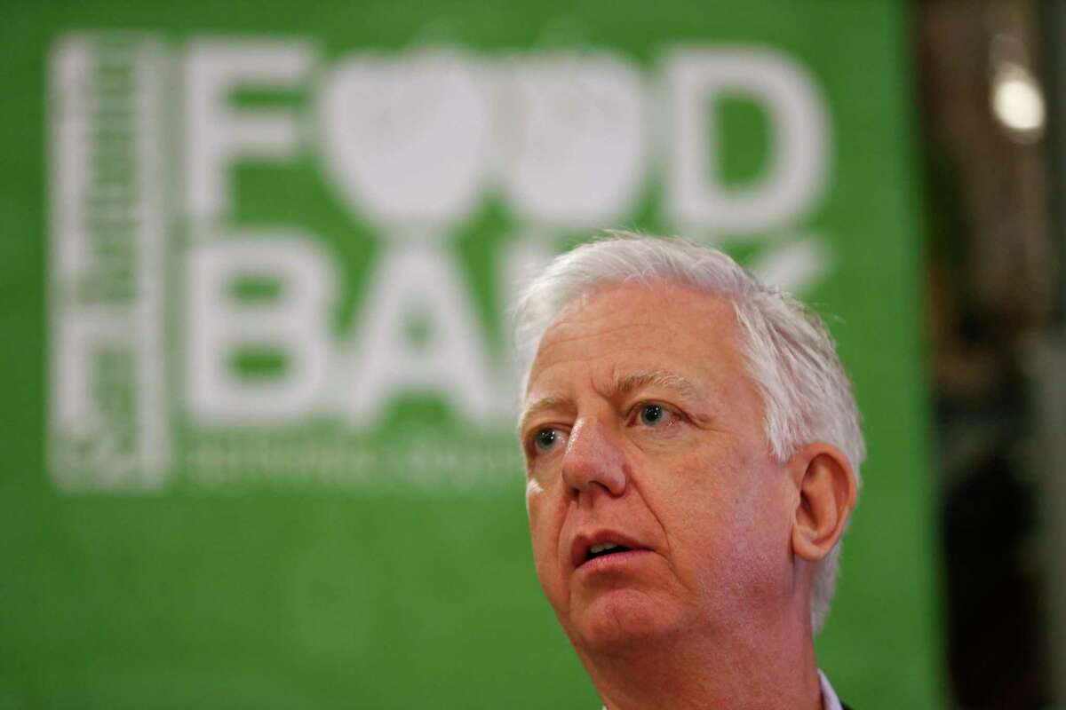 Philanthropist Gordon Hartman at a media conference at San Antonio Food Bank, Tuesday, Nov. 19, 2019. Hartman is heading up five working groups appointed by Mayor Ron Nirenberg and Bexar County Judge Nelson Wolff tasked with handling food shortages, economic losses and other fallout from COVID-19