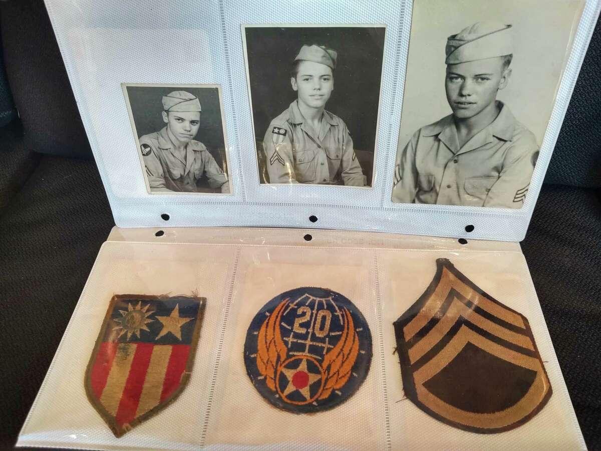 A display of George Schneider's service memorabilia.