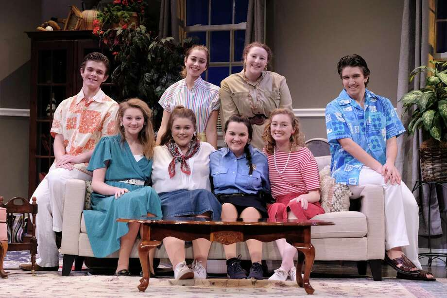 The cast of The Odd Couple at Ridgefield High School, running now through Nov. 23. Front row, left to right: Caroline Malley, Callie Amill, Kyra Linekin, Sophia Smith. Back row L-R: Liam Huff, Eleanor Andresen, Lucy Basile, Tyler Munson. Photo: Tanya Jaeger / Contributed Photo
