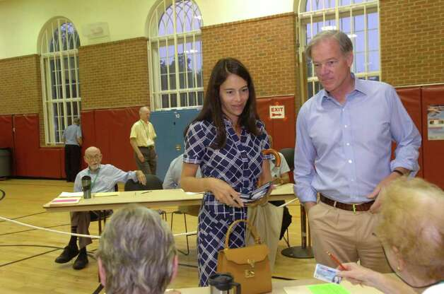 Tom Foley, Republican candidate for governor, voting with his wife, Leslie, at the Bendleim Western Greenwich Civic Center on Tuesday, Aug. 10, 2010. Photo: Helen Neafsey / Greenwich Time