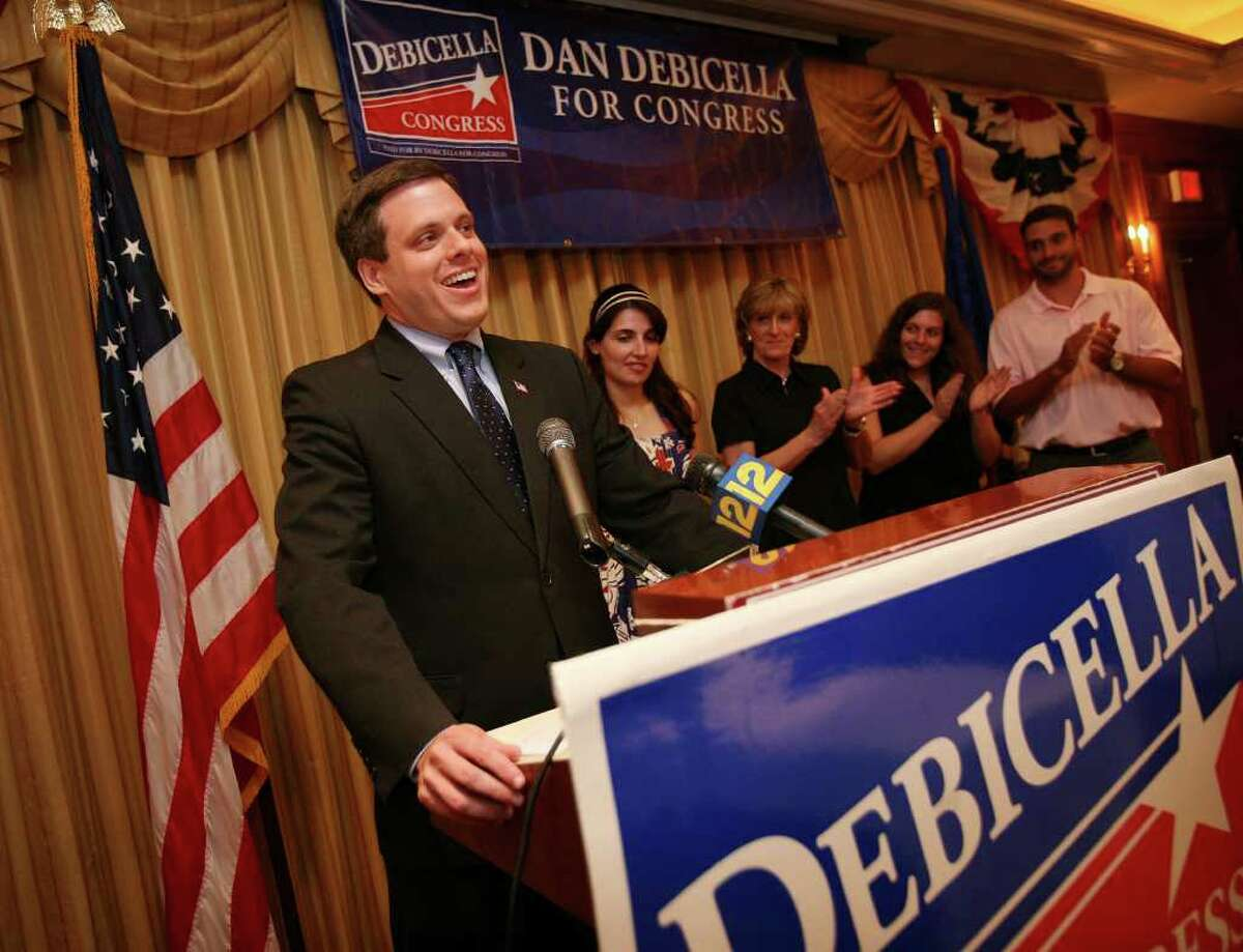 Dan Debicella gives his victory speech in the 4th Congressional District Republican primary at the Norwalk Inn in Norwalk on Tuesday night, August 10, 2010.