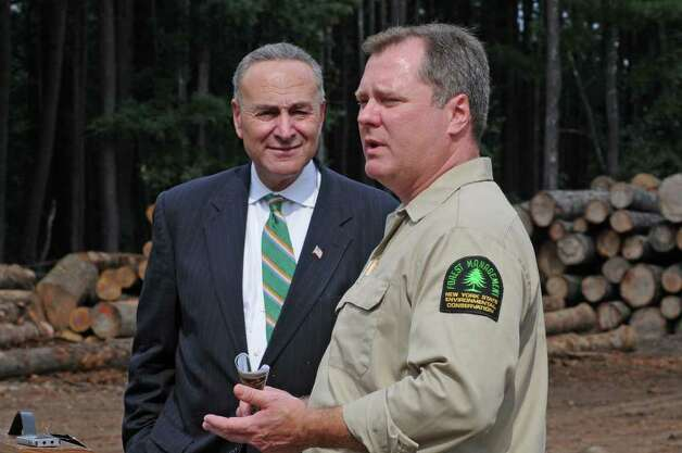 U.S. Sen. Charles E. Schumer, left, and Robert Davies, the state forester, talk Tuesday in Cairo about the push for emergency federal aid to fight the spread of emerald ash borer in the state. (Lori Van Buren/Times Union) Photo: Lori Van Buren