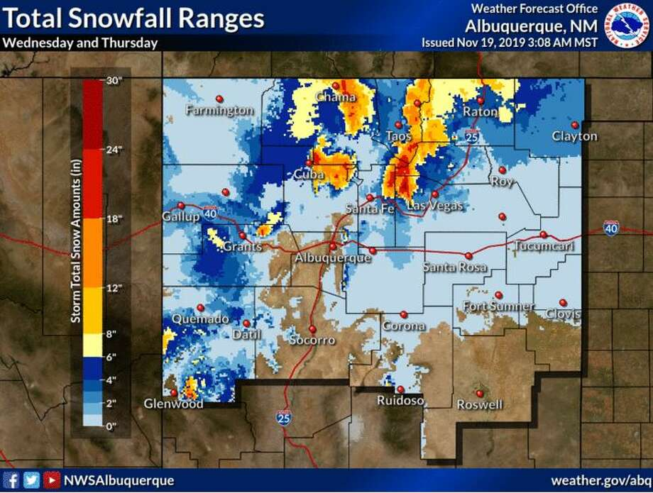 "Heavy mountain snow is expected late Wednesday through late Thursday as two back-to-back storm systems move through New Mexico. The first system will be relatively warm and produce snow accumulations mainly above 9,500' through Wednesday before falling to near 8,500' Wednesday night. Colder air will arrive Thursday and allow snow levels to fall to near 7,500' then to near 6,500' Thursday night. Total snowfall amounts of 10 to 20"" are possible on higher mountain passes and ridges. Photo: NWS Albuquerque"
