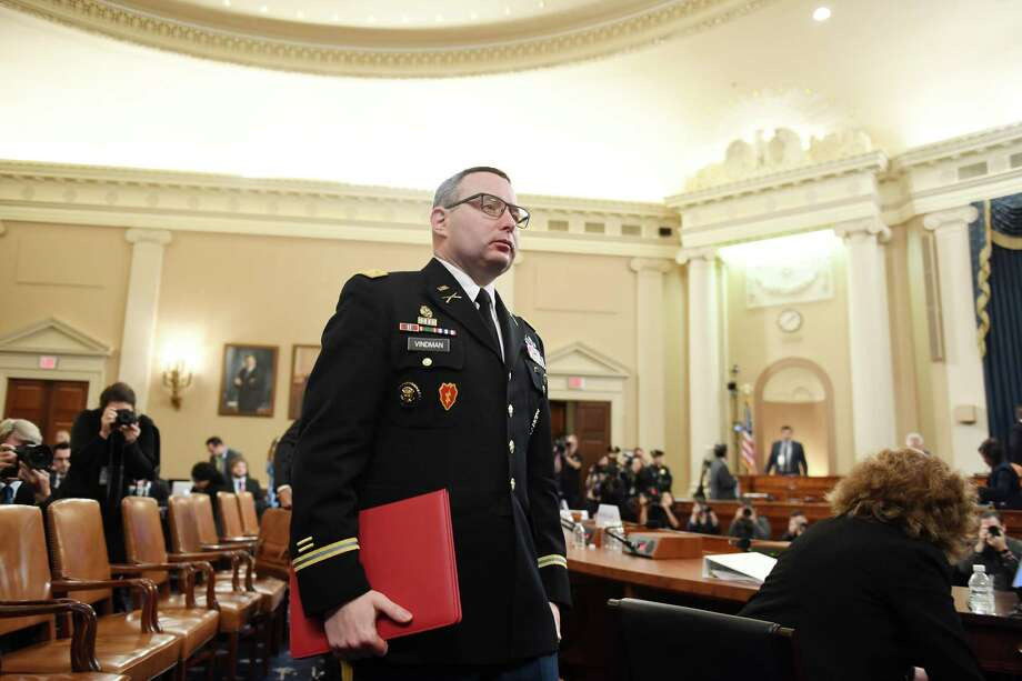 Lt. Col. Alexander Vindman leaves after appearing before the House Intelligence Committee on Nov. 19, 2019. Photo: Washington Post Photo By Matt McClain / The Washington Post