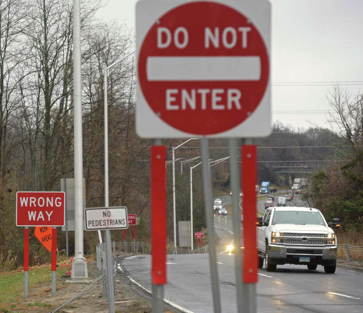 The state is installing high-tech wrong-way signs to prevent crashes at the Westbound Exit 8 off ramp. Monday, November 18, 2019, Danbury, Conn.