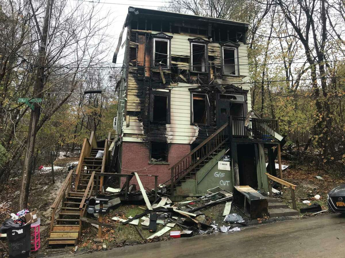 A two-alarm fire destroyed most of 1 Van Every Ave., Troy, N.Y. Tuesday Nov. 19, 2019. The building is located in the South Troy neighborhood.