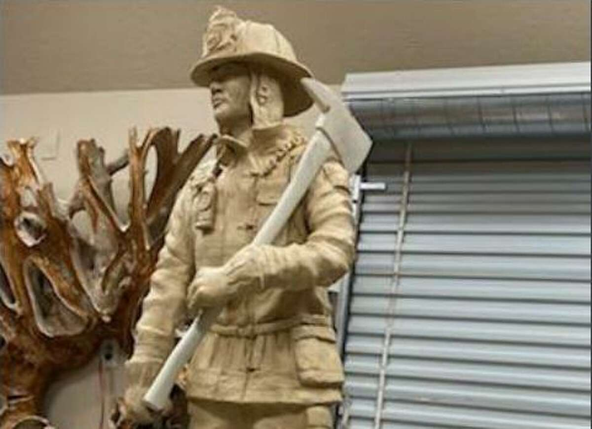 A statue of a firefighter which will be erected in front of Tomball Fire Station 1 commemorating the firefighters who have served the community.