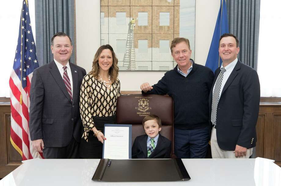 Conner, middle, toured the state capitol with State Rep. John Frey (R-111), far left, and met Gov. Ned Lamont, second to right, with his parents Jessica and Christopher Curran. Photo: Contributed Photo