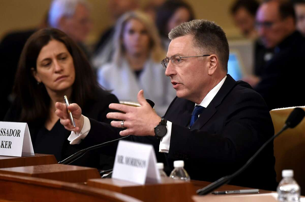 Former US Special Envoy for Ukraine, Kurt Volker, testifies during the House Intelligence Committee hearing, into President Donald Trump's alleged efforts to tie US aid for Ukraine to investigations of his political opponents, on Capitol Hill in Washington, DC on November 19, 2019. - President Donald Trump faces more potentially damning testimony in the Ukraine scandal as a critical week of public impeachment hearings opens Tuesday in the House of Representatives.