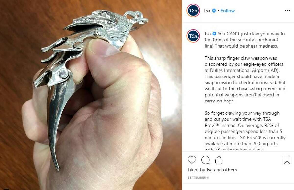 From TSA:This sharp finger claw weapon was discovered by our eagle-eyed officers at Dulles International Airport (IAD). This passenger should have made a snap incision to check it in instead. But we'll cut to the chase...sharp items and potential weapons aren't allowed in carry-on bags.