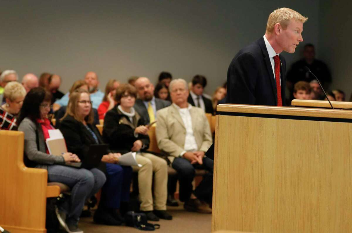 Jay Stittleburg, a former Democratic candidate for Montgomery County Judge, speaks against a resolution to make the Montgomery County a gun sanctuary during a Montgomery County Commissioners Court meeting at the Alan B. Sadler Commissioners Court Building, Tuesday, Nov. 19, 2019, in Conroe. Stittleburg ran unsuccessfully against current Montgomery County Judge Mark Keough in the November 2018 election.