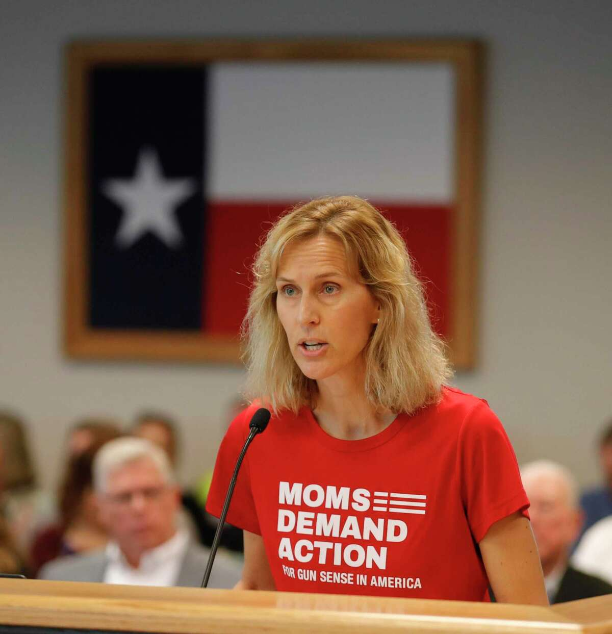Holly Novak with Moms Demand Action speaks against a resolution to make the Montgomery County a gun sanctuary during a Montgomery County Commissioners Court meeting at the Alan B. Sadler Commissioners Court Building, Tuesday, Nov. 19, 2019, in Conroe.