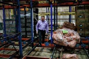 """""""What a tragedy, what a waste,"""" said Matt Toomes, chief operating officer of the Houston Food Bank, on Tuesday, Nov. 19, 2019, in Houston. The food bank lost 1.8 million pounds of food, including produce, when a malfunction with a cooling unit caused an ammonia leak in three of the center's refrigeration areas last week. """"This is one of the busiest times of the year for us,"""" he said."""