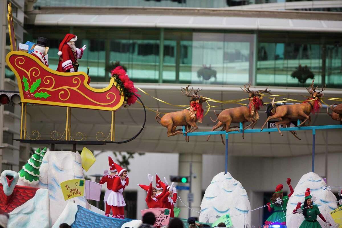 Santa Claus arrives in a float at theThanksgiving Day Parade, Thursday, Nov. 22, 2018, in Houston.