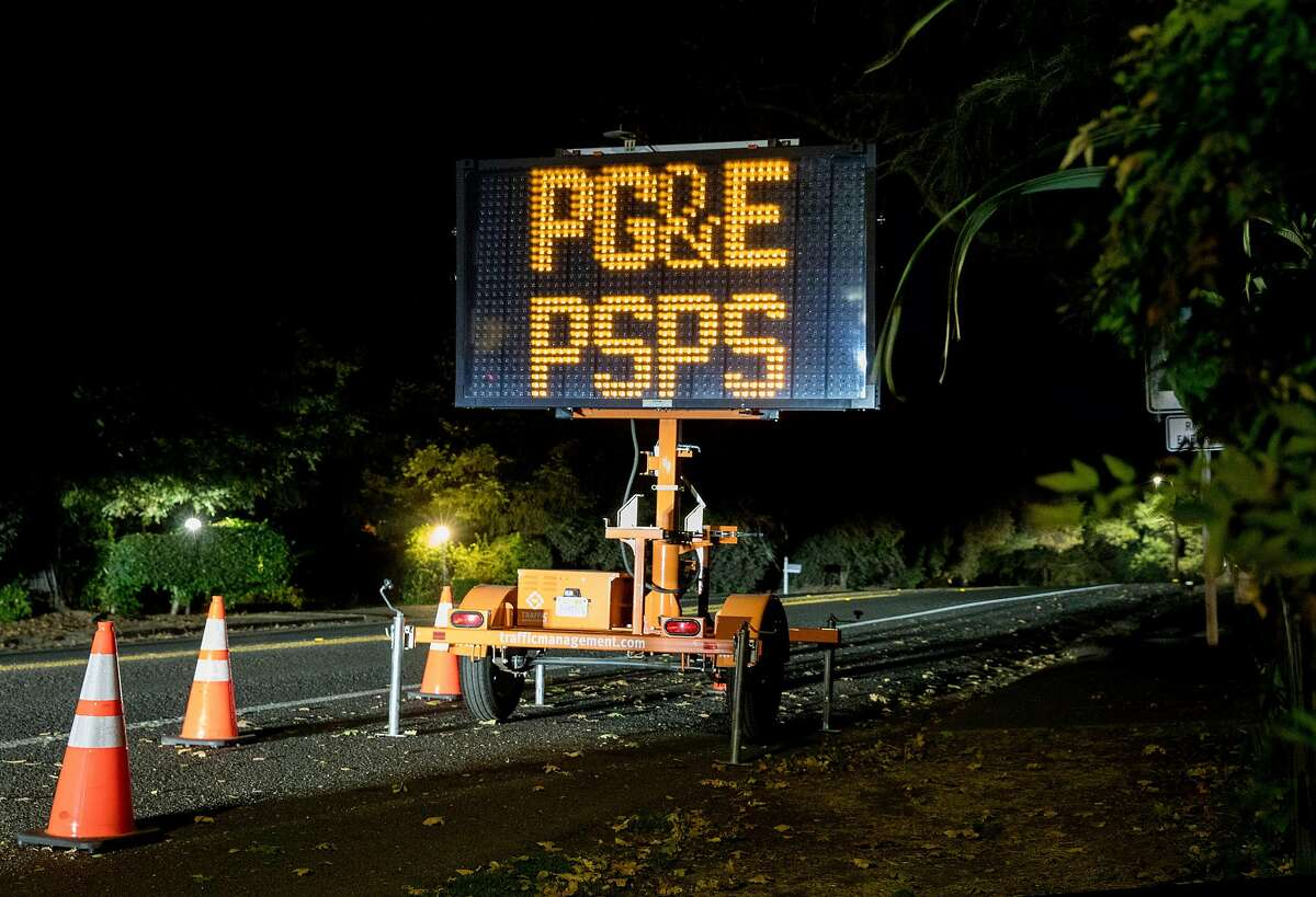A large electronic sign warns residents to use caution while driving in Napa, Calif. Thursday, Oct. 10, 2019 due to a PG&E Public Safety Power Shutoffs across Northern California.