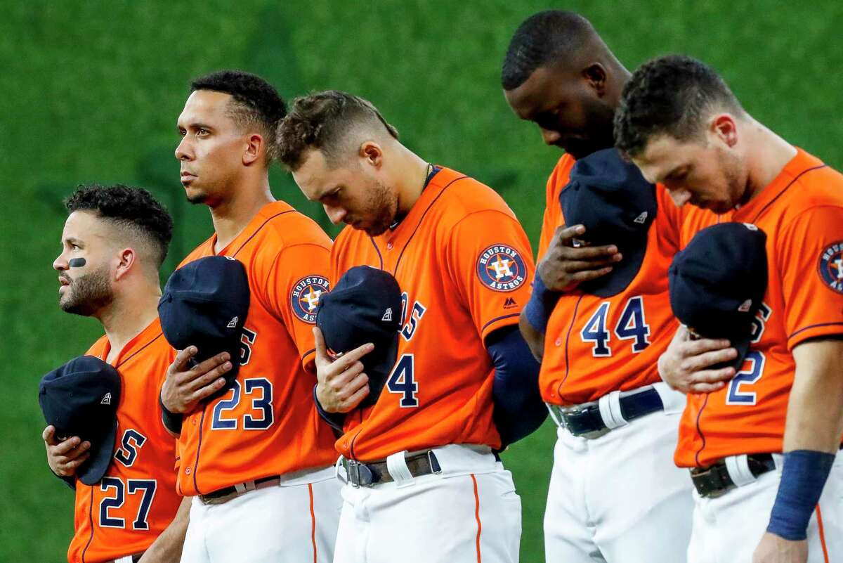 Jose Altuve (27), George Springer (4) and Alex Bregman (2) were part of the 2017 and 2018 Astros teams implicated in a sign-stealing scandal. Michael Brantley (23) and Yordan Alvarez (44) joined the team in 2019.