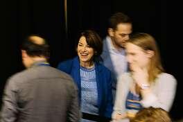 LONG BEACH, CA - NOVEMBER 16: Senator Amy Klobuchar at the California Democratic Party's 2019 Fall Endorsing Convention at the Long Beach Convention Center in Long Beach, California November 16, 2019.