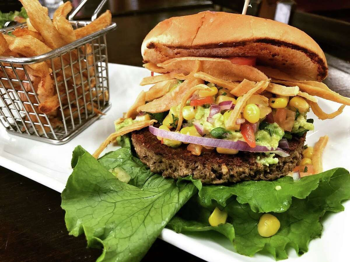 A vegan Impossible Burger from Marla Restaurant