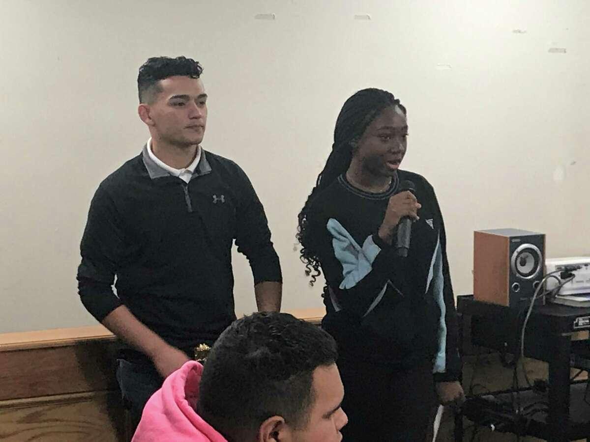 New Haven Board of Education student board members Nico Rivera and Lihame Arouna on Nov. 19, 2019.