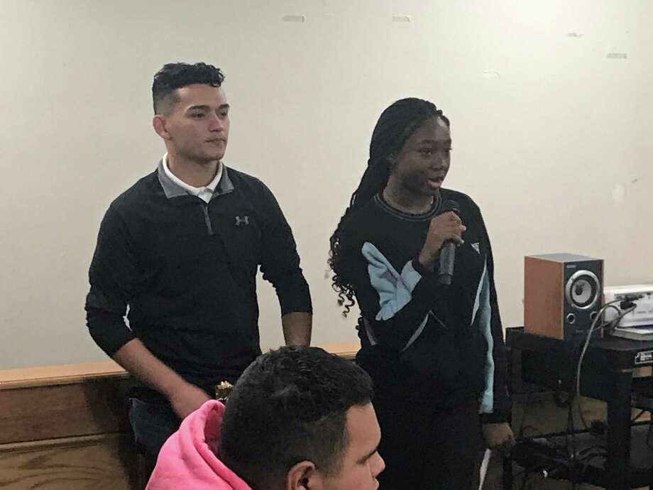 New Haven Board of Education student board members Nico Rivera and Lihame Arouna on Nov. 19, 2019. Photo: Brian Zahn / Hearst Connecticut Media