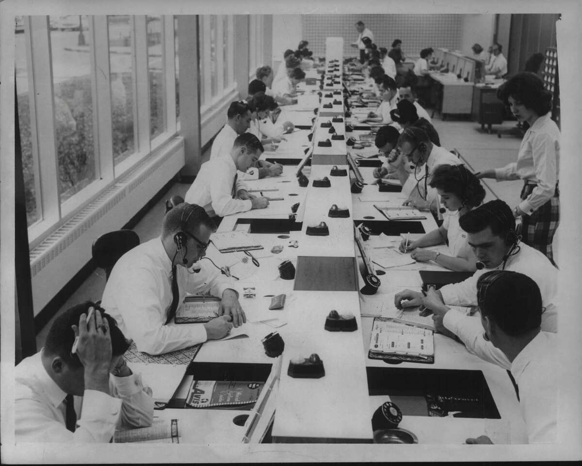 Staff mans phone bank at Mohawk Airlines in Albany, New York. November 11, 1961 (Times Union Archive)