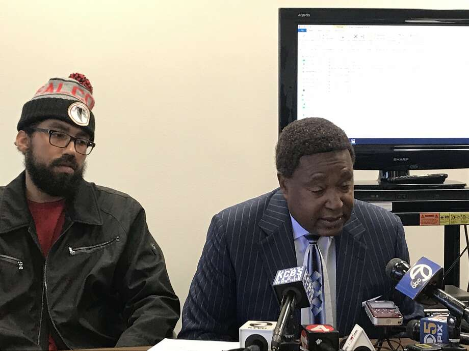 Steve Foster, left, and his attorney John Burris on Nov 14, 2019, announce his lawsuit against BART alleging racial discrimination when he was detained At the Pleasant Hill platform for eating a sandwich. Photo: Michael Cabanatuan / The Chronicle