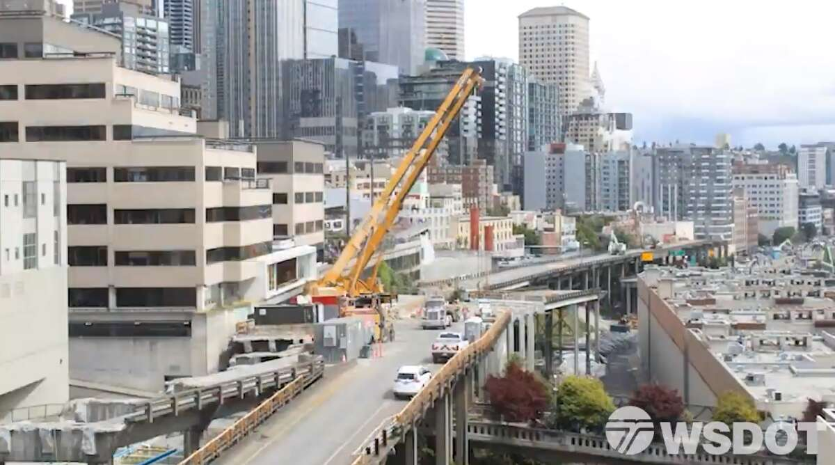 A screenshot of a time-lapse video from WSDOT showing the demolition of the Alaskan Way Viaduct.