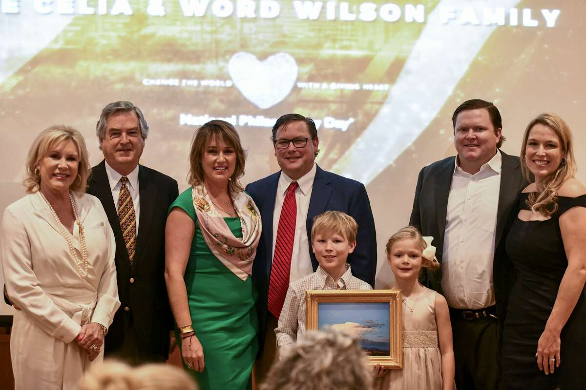 Celia Wilson, Word Wilson, Chelsea Wilson Sheppard, Blaine Sheppard, Jake McAlister and Toffee Wilson McAlister accept the outstanding philanthropic family award during National Philanthropy Day on Nov. 19, 2019 at the Petroleum Club of Midland. Jacy Lewis/Reporter-Telegram