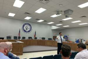 Port Neches-Groves ISD Superintendent Mike Gonzales addresses voters ahead of a 2019 bond issue. Photo taken Sept. 9, 2019.