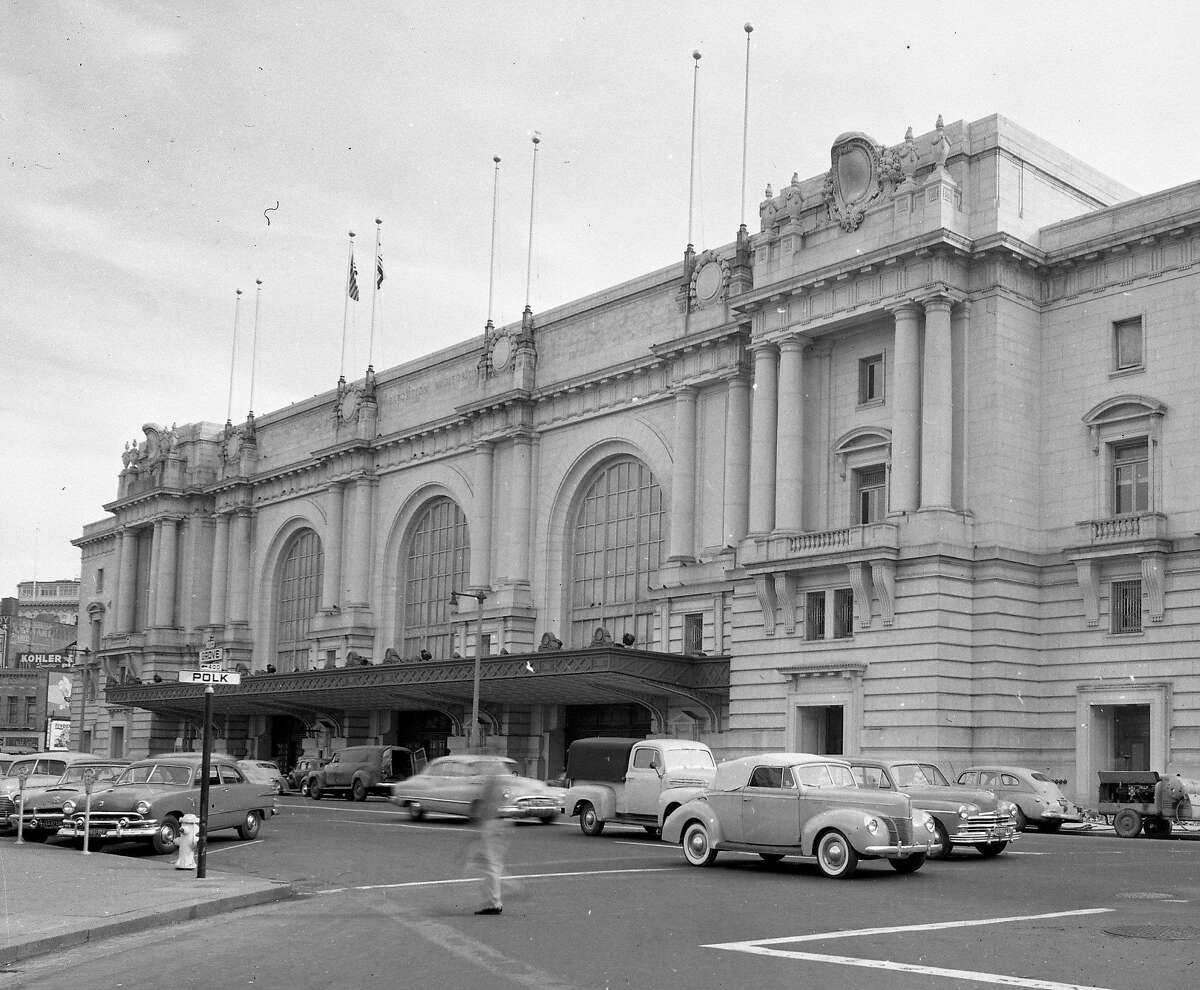 The exterior of the Civic Auditorium, now known as the Bill Graham Civic Auditorium, February 18, 1953