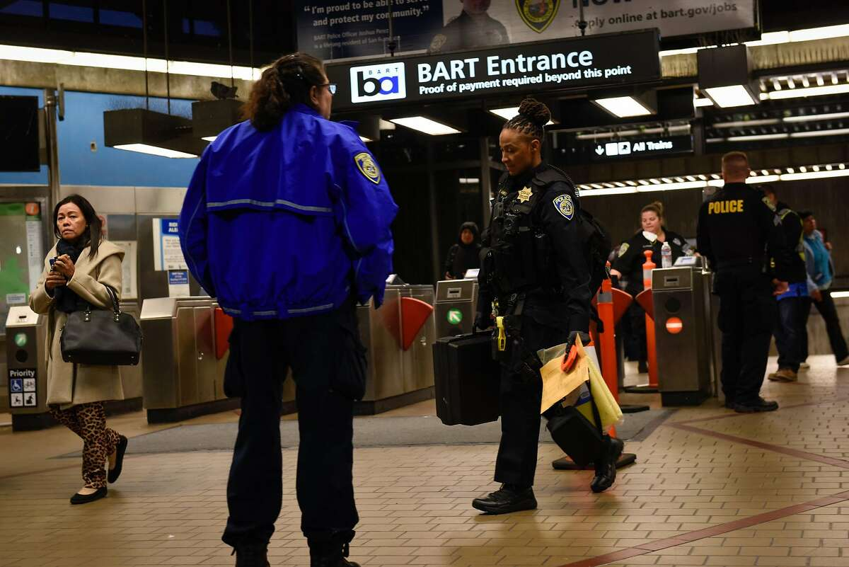 BART Police take evidence out of the South Hayward BART Station after a homicide on one of the transit system's trains on November 20, 2019 in Hayward, Calif.