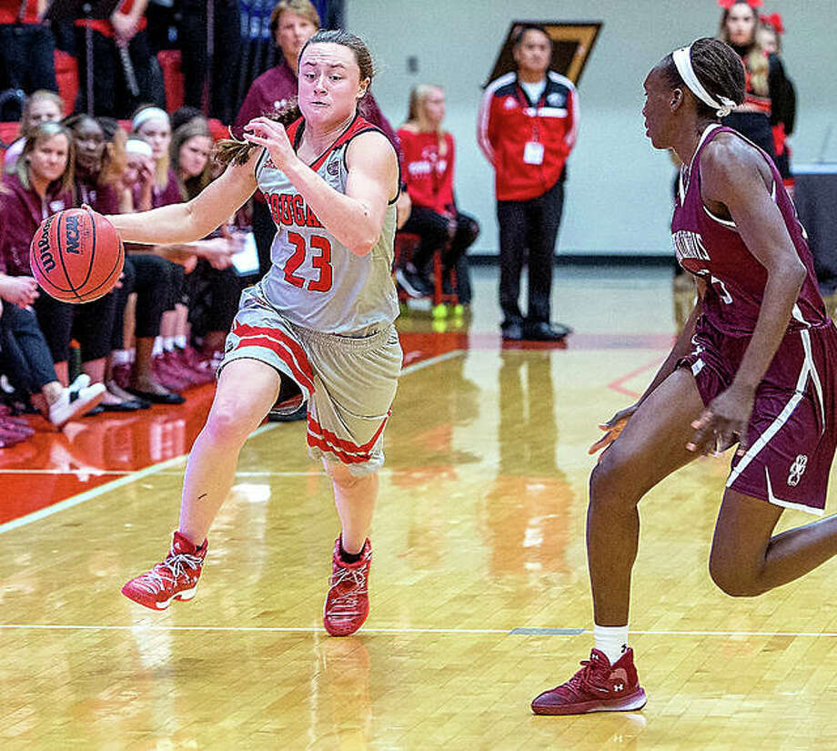 SIUE's Allie Troeckler (23) drives against SIU Carbondale earlier this season. The Cougars will play host to rival Saint Louis University Wednesday. Photo: Scott Kane, SIUE | For The Telegraph
