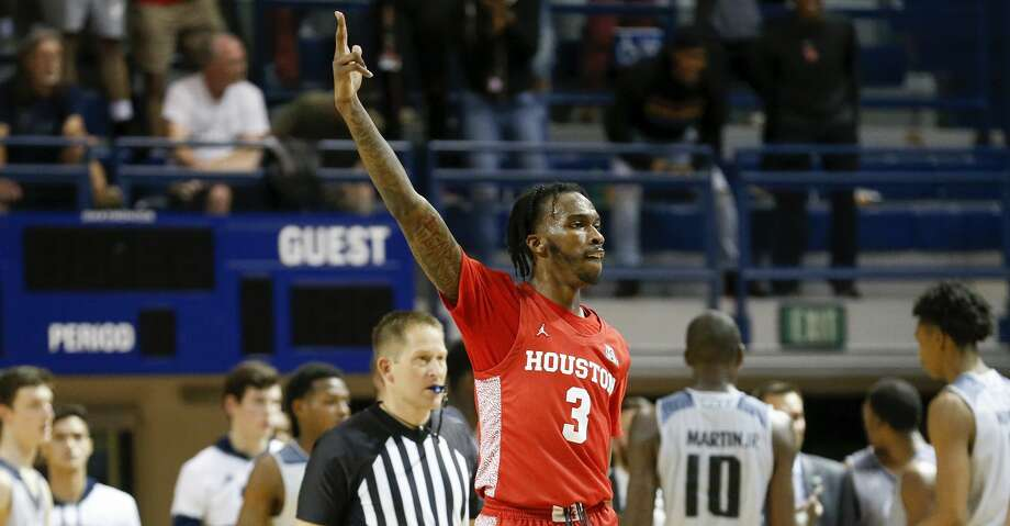 Houston Cougars guard DeJon Jarreau (3) reacts during the second half of the NCAA basketball game between the Rice Owls and the Houston Cougars at Tudor Fieldhouse in Houston, TX on Tuesday, November 19, 2019.  The Cougars defeated the Owls 97-89. Photo: Tim Warner/Contributor