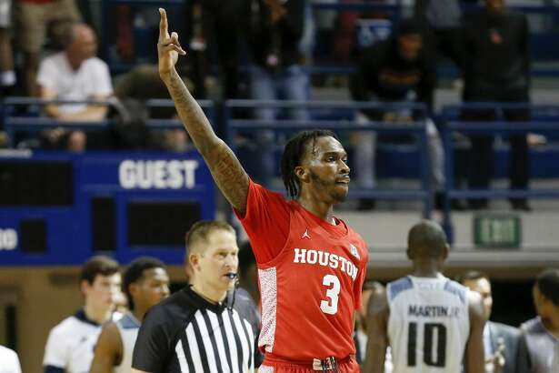 Houston Cougars guard DeJon Jarreau (3) reacts during the second half of the NCAA basketball game between the Rice Owls and the Houston Cougars at Tudor Fieldhouse in Houston, TX on Tuesday, November 19, 2019. The Cougars defeated the Owls 97-89.