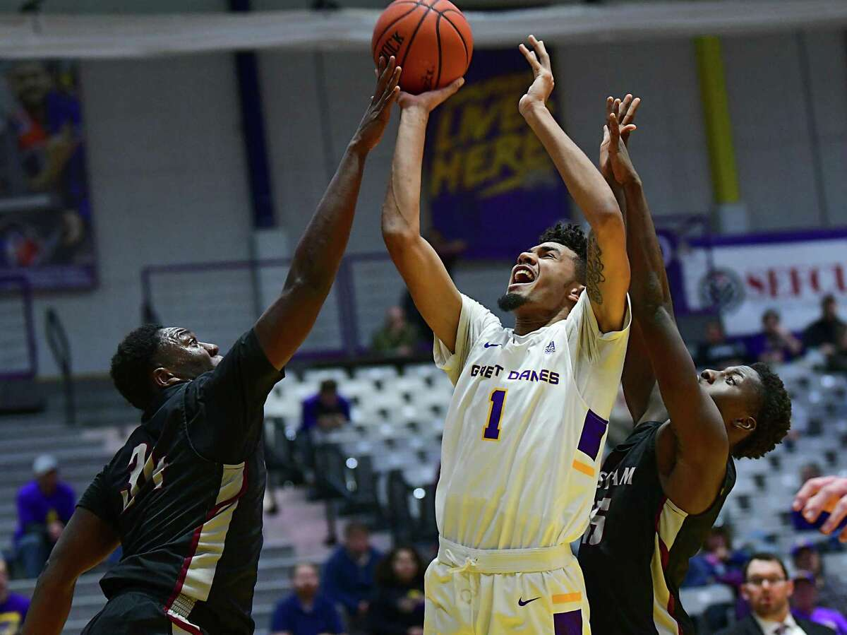 University at Albany's Malachi de Sousa drives to the hoop against Potsdam during a basketball game at SEFCU Arena on Tuesday, Nov. 19, 2019 in Albany, N.Y. (Lori Van Buren/Times Union)