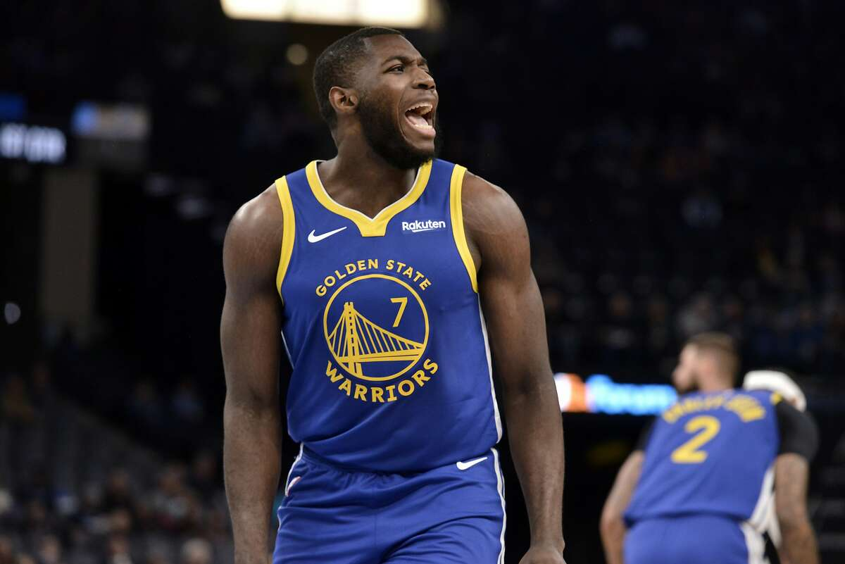 Golden State Warriors forward Eric Paschall (7) reacts in the first half of an NBA basketball game against the Memphis Grizzlies Tuesday, Nov. 19, 2019, in Memphis, Tenn. (AP Photo/Brandon Dill)