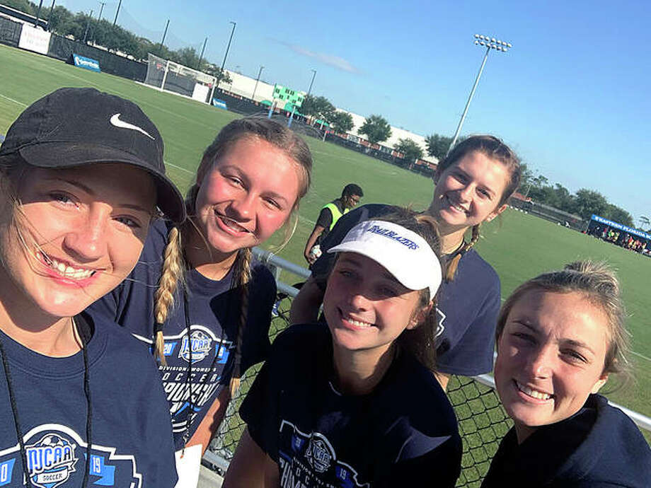 From left, LCCC's Sydney Schmidt, Emma Lucas, Cassie Hall, Jenna Robinson (back) and Kara Crutchley Tuesday at Orlando Health Stadium Melbourne, Fla. The five area players have helped the Trailblazers get tothe NJCAA Nationals. Photo: Telegraph Photo