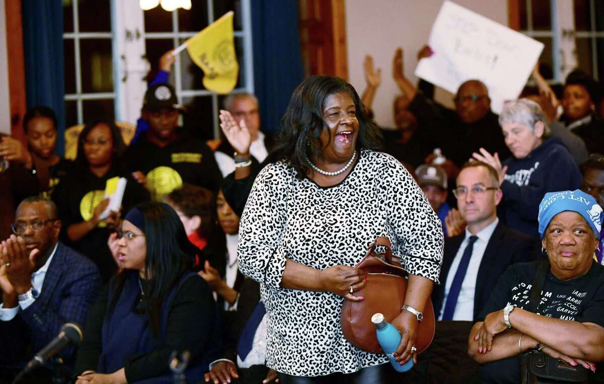 Brenda Penn Williams and the NAACP and the Norwalk Board of Education square off at the Board of Education meeting Tuesday, November 19, 2019, where members were sworn in and the Norwalk NAACP urged the resignation of former BOE Chair Mike Barbis in the Norwalk City Hall Community Room in Norwalk, Conn.
