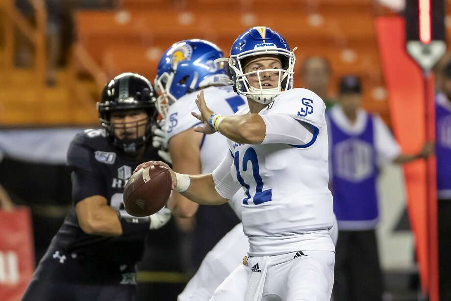 San Jose State quarterback Josh Love (12) drops back to pass in the first half of an NCAA college football game against Hawaii, Saturday, Nov. 9, 2019, in Honolulu. (AP Photo/Eugene Tanner) Photo: Eugene Tanner / Associated Press