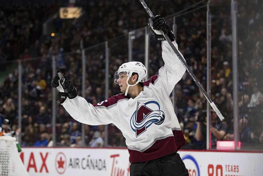 The Avalanche's Andre Burakovsk celebrates one of his two goals against the Flames in a 3-2 victory. Photo: DARRYL DYCK / Associated Press