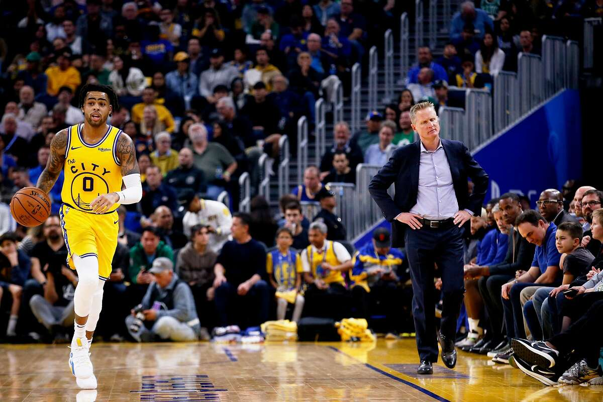 Golden State Warriors D'Angelo Russell and head coach Steve Kerr in an NBA game at Chase Center on Friday, Nov. 15, 2019, in San Francisco, Calif. The Boston Celtics won 105-100.