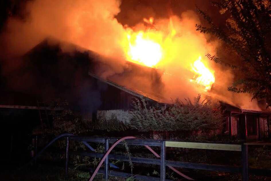 Firefighters in Montgomery County battle a massive house fire in the 18100 block of Lilac Lane in New Caney overnight Tuesday, Nov. 19, 2019.