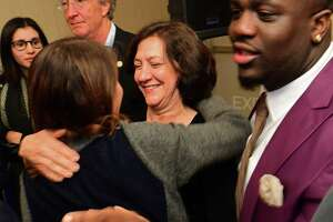 Common Council candidate Barbara Smyth celebrate her win on election night at the Hilton Inn in Norwalk.