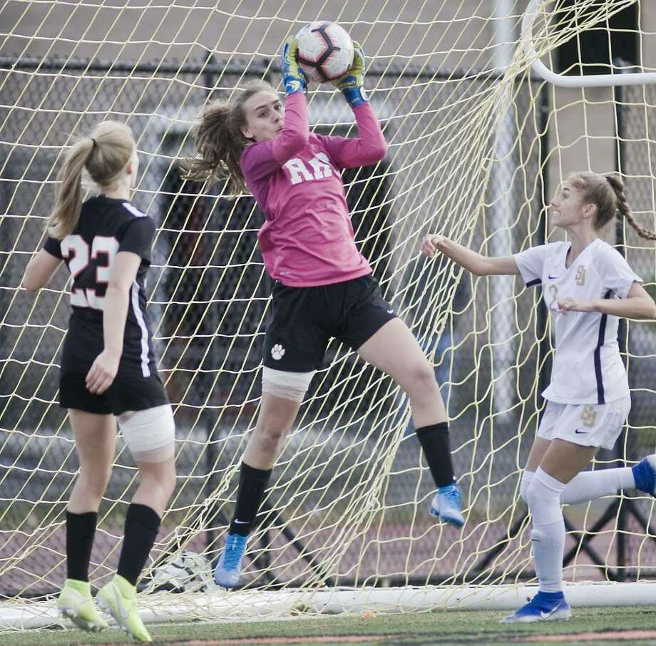 Goalie Kelly Chittenden and the Ridgefield girls soccer team saw the season end with a 1-0 loss to Southington in the Class LL semifinals. Ridgefield was the two-time defending state champion. Photo: Scott Mullin / For Hearst Connecticut Media