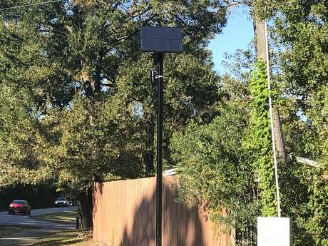 This Flock Safety camera atop a 12-foot pole at the intersection of Briar Forest Drive and Memorial Drive on Monday, Nov. 18, is one of 20 Automated License Plate Readers set to help the Memorial Villages Police Department look for stolen or wanted vehicles coming through Bunker Hill, Piney Point or Hunters Creek Villages.