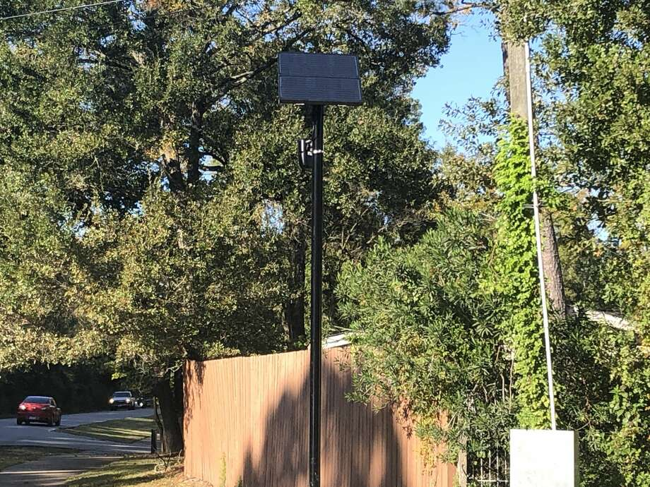 This Flock Safety camera atop a 12-foot pole at the intersection of Briar Forest Drive and Memorial Drive on Monday, Nov. 18, is one of 20 Automated License Plate Readers set to help the Memorial Villages Police Department look for stolen or wanted vehicles coming through Bunker Hill, Piney Point or Hunters Creek Villages. Photo: Courtesy Memorial Villages Police