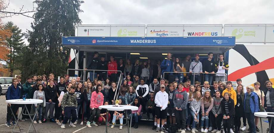 Exchange students from Germany and students from Wilton High School got a chance to mingle and socialize when the WanderbUS came to town on Oct. 28. Photo: Contributed Photo / Christine Higgins / Wilton Bulletin Contributed